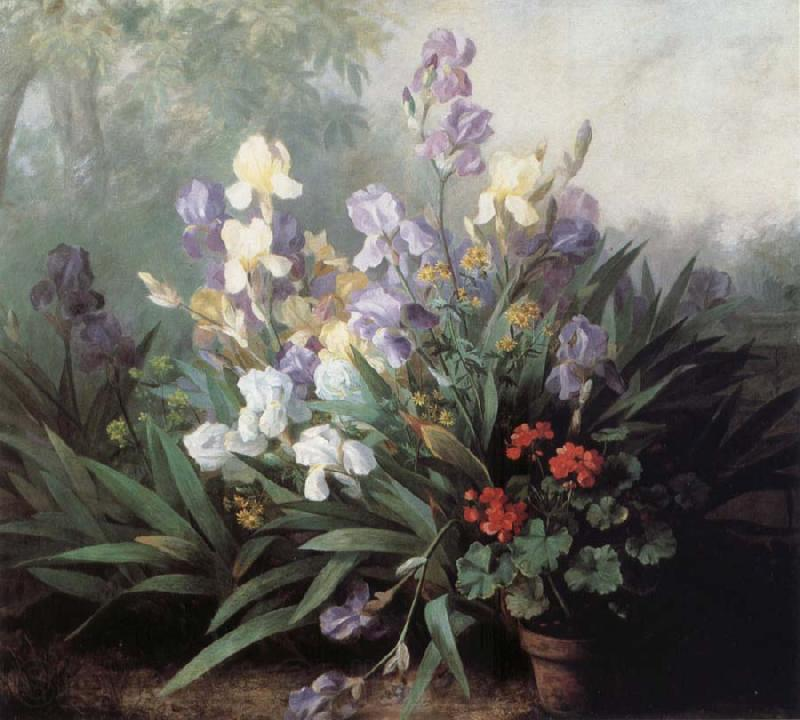 Barbara Bodichon Landscape with Irises